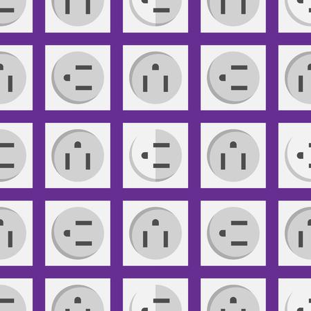 電気の電気コンセント エネルギー ヨーロッパ家電インテリア ベクターのシームレスなパターンに接続します。