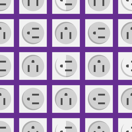 Electric outlet energy socket electrical plug european appliance interior vector seamless pattern.