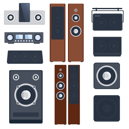 Home sound system stereo flat vector music icons