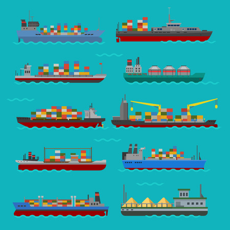 Cargo vessels and tankers shipping delivery bulk carrier train ferry freight industrial goods boat tankers isolated vector illustration Illustration