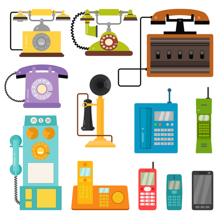 Vector vintage phones retro lod telephone call number connection device technology telephonic illustration