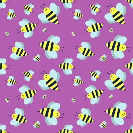 Cartoon sweet yellow bee summer worker bug hand drawn seamless pattern honey nature nector. Illustration