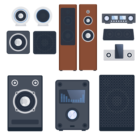cd recorder: Home sound system stereo flat vector music loudspeakers player subwoofer equipment technology.