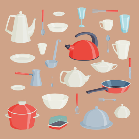Set of kitchen utensils food kitchenware cooking battery domestic tableware vector illustration