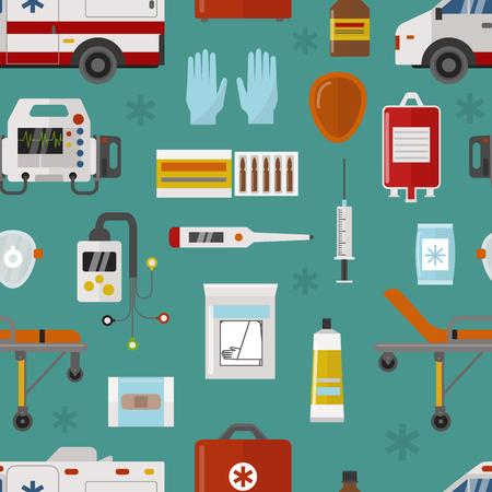 Medische pictogrammen instellen zorg ambulance noodgevallen ziekenhuis vectorillustratie naadloze patroon Stock Illustratie