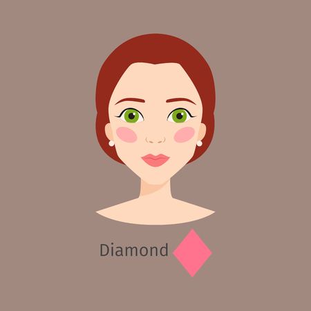 Woman face type vector illustration character shape girl makeup beautiful hair cosmetic female diamond Ilustração