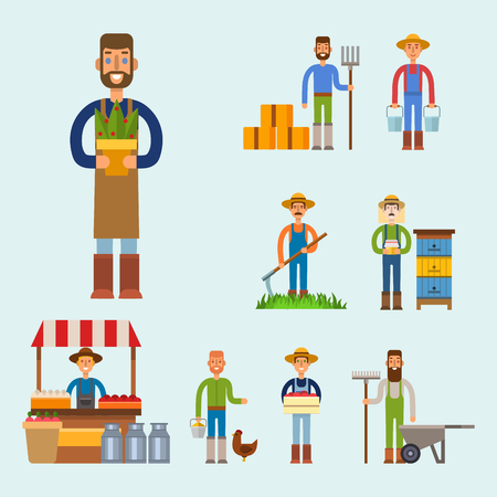 Farmer character man agriculture person profession rural gardener worker people vector illustration. Illustration