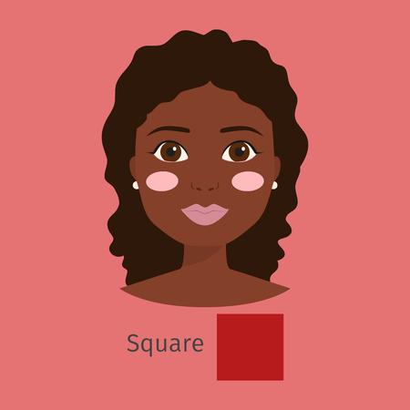 Vrouw gezicht type vector illustratie karakter vorm meisje make-up mooi haar cosmetische wangen vrouwelijk vierkant