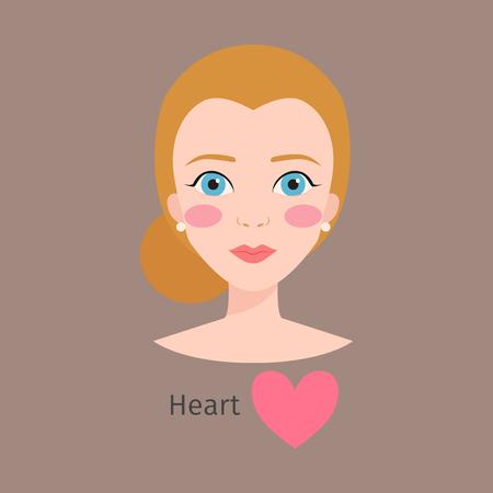 여자 얼굴 유형 벡터 일러스트 레이션, 여성, 흰색, 모양,