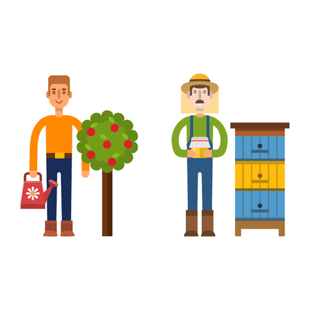 plant stand: Farmer character man agriculture person profession rural gardener worker people vector illustration. Illustration