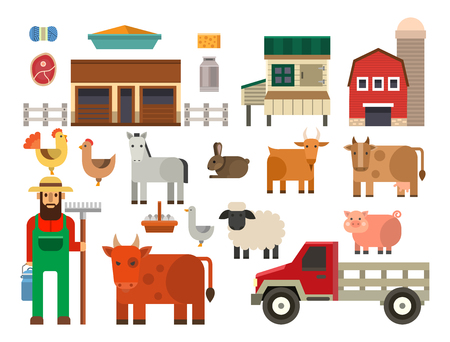 Agricultural theme with a farmer Illustration