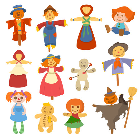 Diferentes muñecas de juguete juego de personaje vestido y granja espantapájaros trapo-muñeca ilustración vectorial
