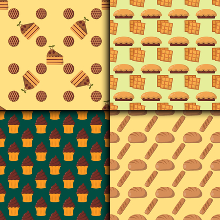 Cookie cakes seamless pattern tasty snack delicious chocolate homemade pastry biscuit vector illustration Illustration