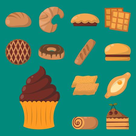 맛있는 스낵 초콜릿 맛있는 초콜릿 수제 과자 비스킷 벡터 일러스트 레이션 절연 쿠키 스톡 콘텐츠 - 79762017