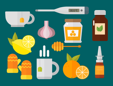 influenza: Influenza and cold themed design elements in trendy flat design health medical disease vector