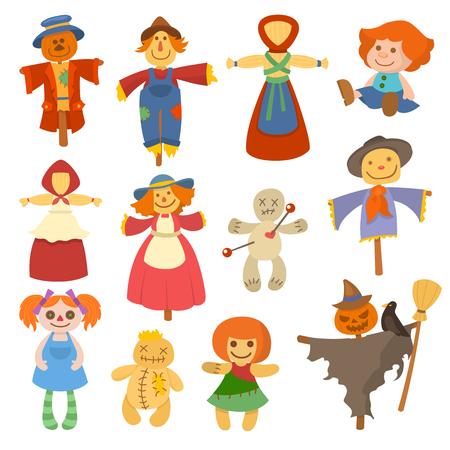 Verschiedene Puppen Spielzeug Charakter Spiel Kleid und Bauernhof Vogelscheuche Rag-Puppe Vektor-Illustration Standard-Bild - 79873476