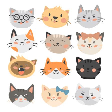 Cats heads vector illustration cute animal funny decorative characters feline domestic trendy pet drawn Çizim