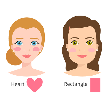 Set of different woman face types vector illustration character shapes girl makeup beautiful female Ilustração
