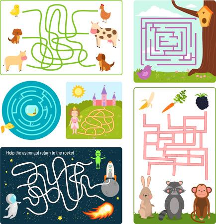 Labyrinthe labyrinthe forme énigme rebus logique jeu recherche mystère puzzle drôle pour enfants vector illustration.