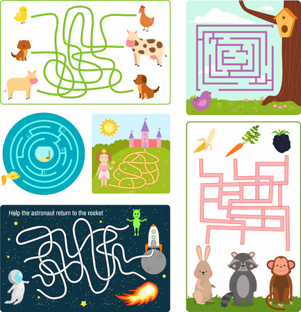 Labyrinth maze conundrum shape rebus logic game search mystery funny puzzle for children vector illustration.