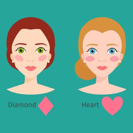 Set van verschillende vrouw gezicht soorten vector illustratie karakter vormen meisje make-up mooie haar cosmetische wangen vrouw Stockfoto