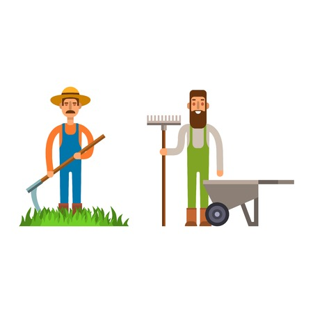 plant stand: Farmer character man agriculture person profession rural gardener worker people vector illustration. Stock Photo