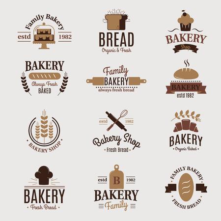 Panadería insignia icono de la moda estilo moderno trigo vectorial etiqueta elemento de diseño dulcerar dulces pan y pan logo Foto de archivo - 79937205