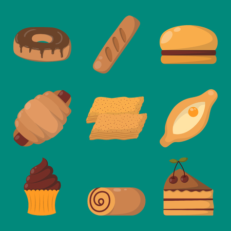 Cookie cakes isolated tasty snack delicious chocolate homemade pastry biscuit vector illustration Illustration