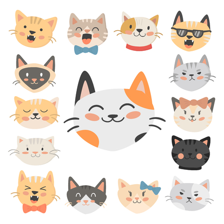 Cats heads vector illustration cute animal funny decorative characters feline domestic trendy pet drawn Ilustração