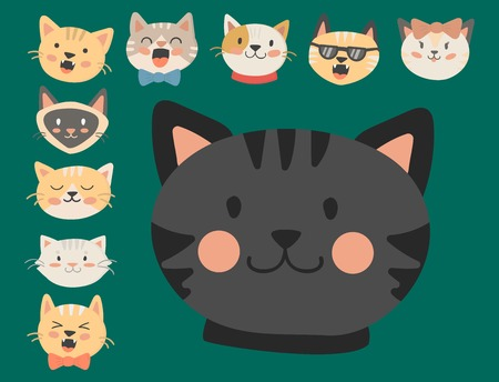 Cats heads vector illustration cute animal funny decorative characters feline domestic trendy pet drawn Imagens - 79948850