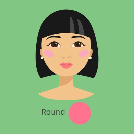 여자 얼굴 유형 라운드 벡터 일러스트 레이션 캐릭터 모양 여자 메이크업 아름다운 여성