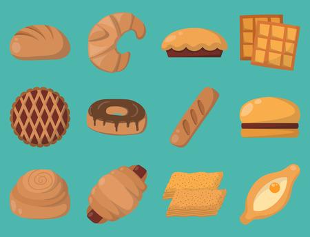 クッキー ケーキ分離おいしいおやつおいしいチョコレート自家製菓子ビスケット ベクトル図  イラスト・ベクター素材