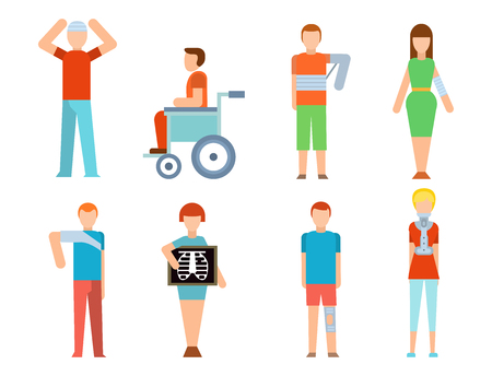 Trauma accident fracture human disabled people vector silhouette cartoon flat style illustration.