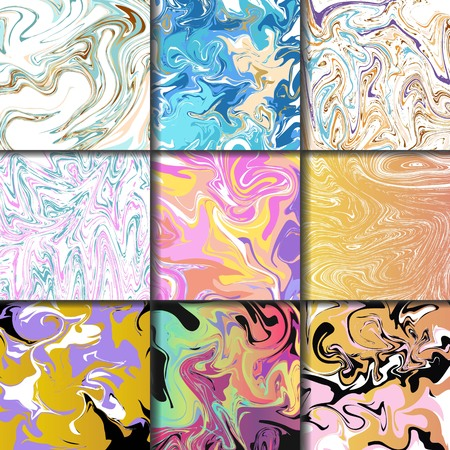 Abstract backgrounds ink marbling textures hand drawn watercolor paint brush aqua paper and silk prints vector illustration