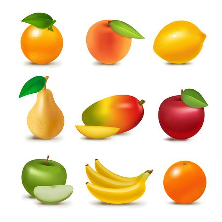 リアルな 3 d ジューシー フルーツ スライス有機ベジタリアン分離青果フルーティーなベクトル図  イラスト・ベクター素材