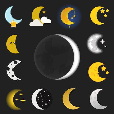 Verschiedene Mond Natur Kosmos Zyklus Satelliten Oberfläche ganze Zyklus von neuen Stern Vektor-Illustration. Standard-Bild - 80083857