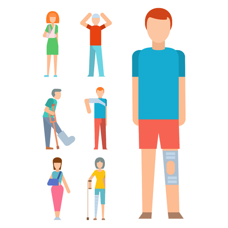 Trauma accident fracture human body safety vector people silhouette cartoon flat style illustration.