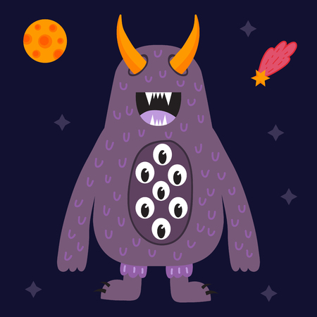 mutant: Funny cartoon monster cute alien character creature happy illustration devil colorful animal vector.
