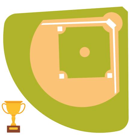 Honkbal veld cartoon pictogram batting ontwerp Amerikaans spel atleet atleet sport Stock Illustratie