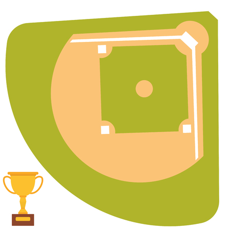 Baseball field cartoon icon batting design american game athlete winner sport