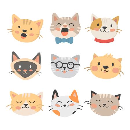 Cats heads illustration