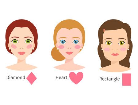 다른 여자 얼굴 유형 그림 문자 모양의 집합의 집합 일러스트