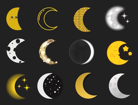 Verschiedene Mond Natur Kosmos Zyklus Satelliten Oberfläche Video Zyklus vom neuen Sommer Vektor-Illustration Standard-Bild - 80111347
