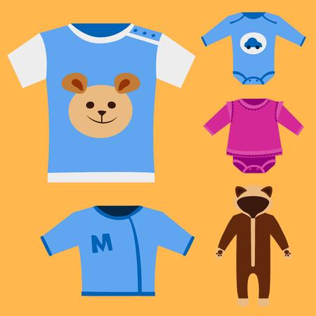 De vector van het het pictogram vastgestelde ontwerp van babykleren van de het stoffenkinder kleding van het textiel toevallige stof kleurrijke de slijtageillustratie kleding.