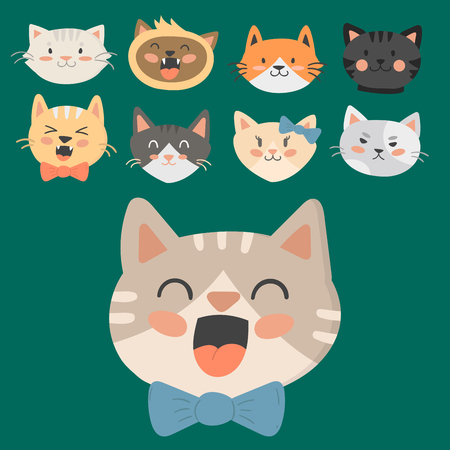 Cats heads vector illustration cute animal funny decorative characters feline domestic trendy pet drawn Imagens - 80118450