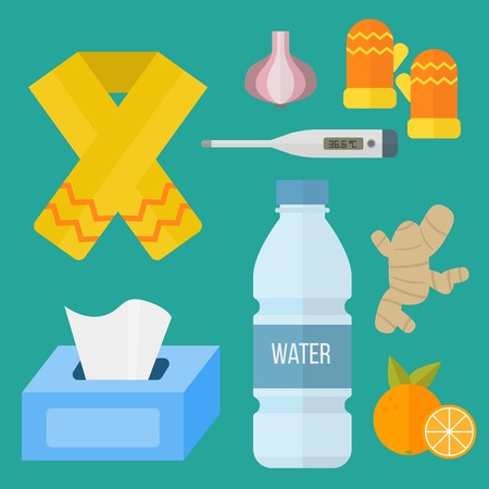 Influenza and cold themed design elements in trendy flat design health medical disease Ilustracja