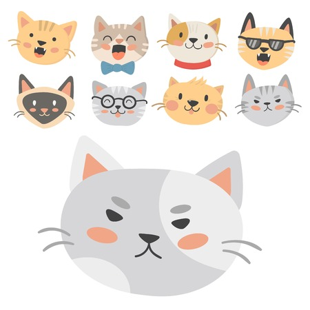 A cats heads illustration cute animal funny decorative characters feline domestic trendy pet drawn Иллюстрация