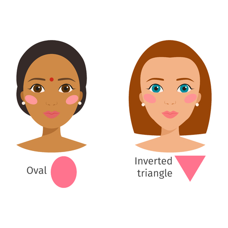 Set of different woman face types illustration character shapes girl makeup beautiful female