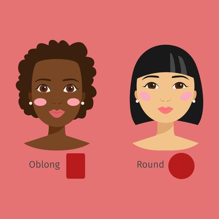 Set van verschillende vrouw gezicht soorten illustratie karakter vormen meisje make-up mooie haar cosmetische wangen vrouw