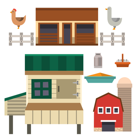 Farm house food outdoor barn building clean meadow natural agriculture animals illustration. Ilustrace